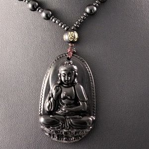 Jewelry - Black Carved Obsidian Buddha Pendant Necklace